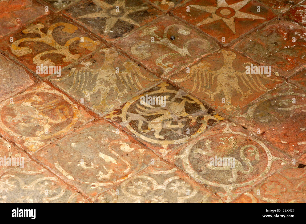 Medieval floor tiles from the priory of Austin Canons at Mottisfont ...