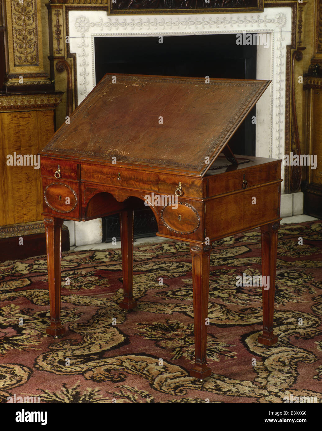 The Library At Nostell Priory A Small Drawing Table With Hinged Top By  Chippendale