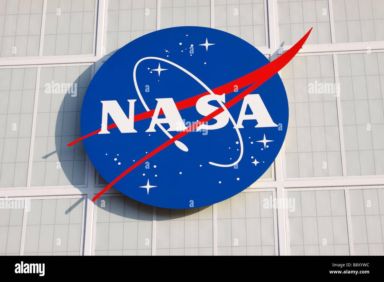 NASA logo, Kennedy Space Center, Cape Canaveral, Florida, USA - Stock Image