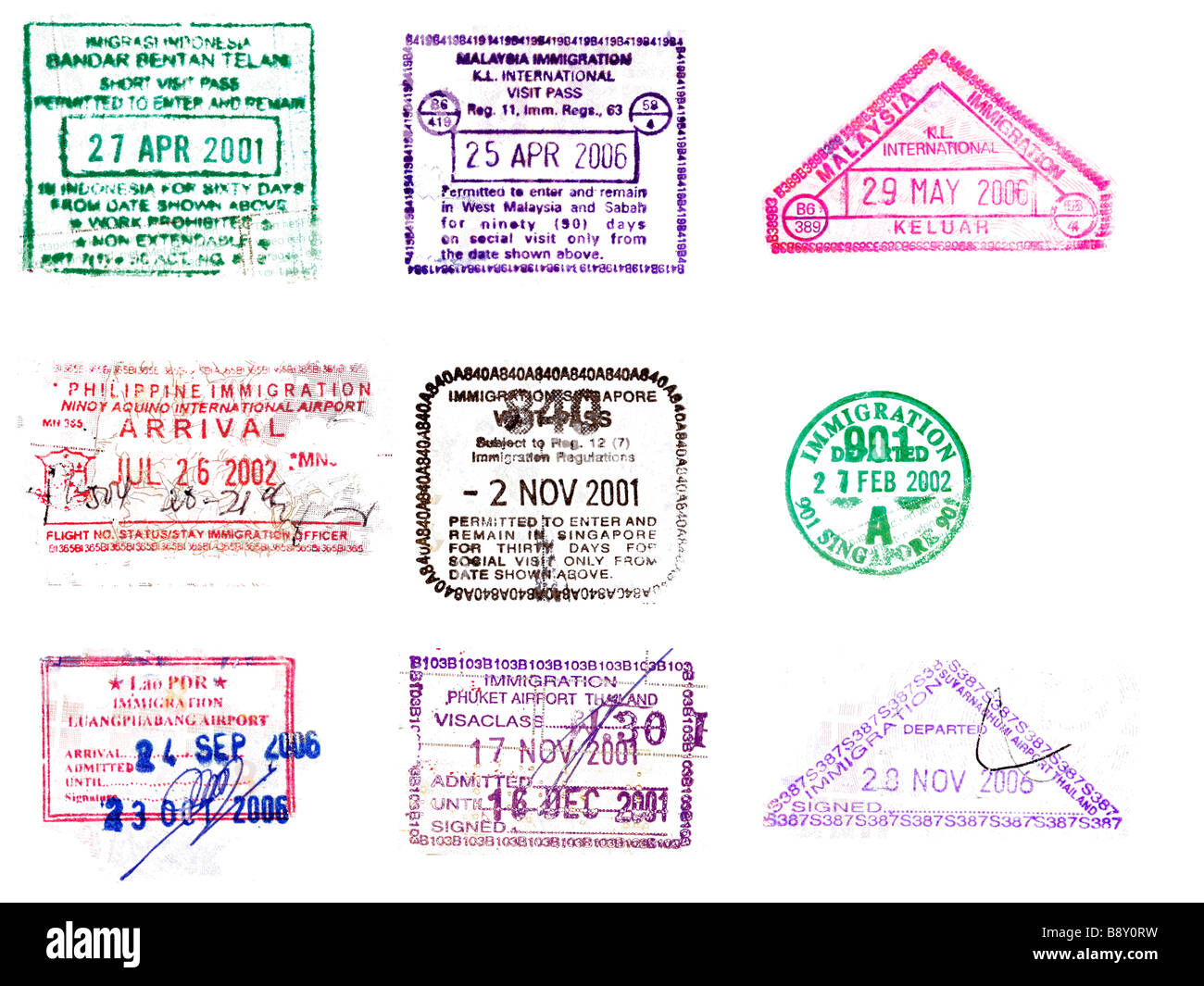Collection Of Asian Passport Stamps From Indonesia Laos Malaysia Philippines Singapore