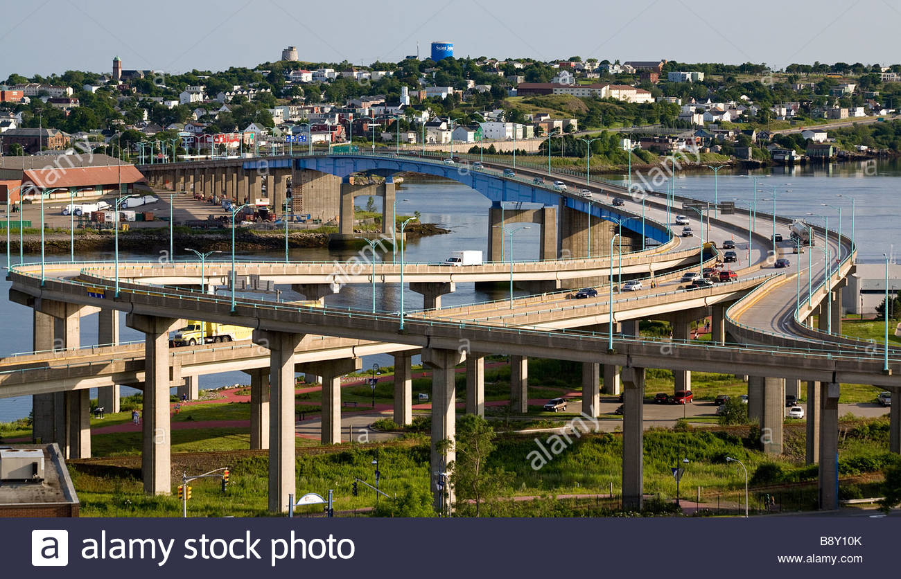 High angle view of crisscrossing freeway overpasses, St. John, New Brunswick, Canada - Stock Image