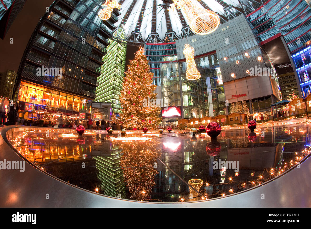 Sony Center at Christmas Potsdamer Platz Berlin Germany - Stock Image