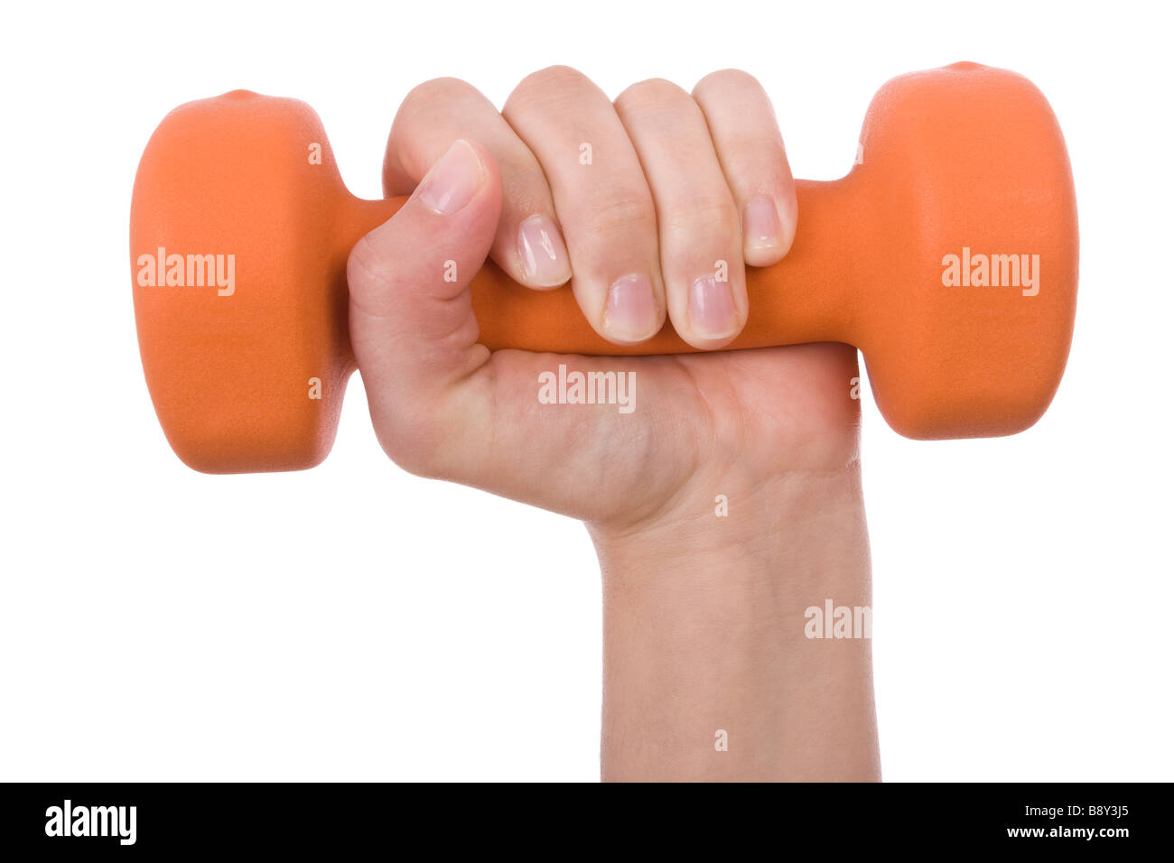 Female hand holding a dumbbell isolated on white - Stock Image