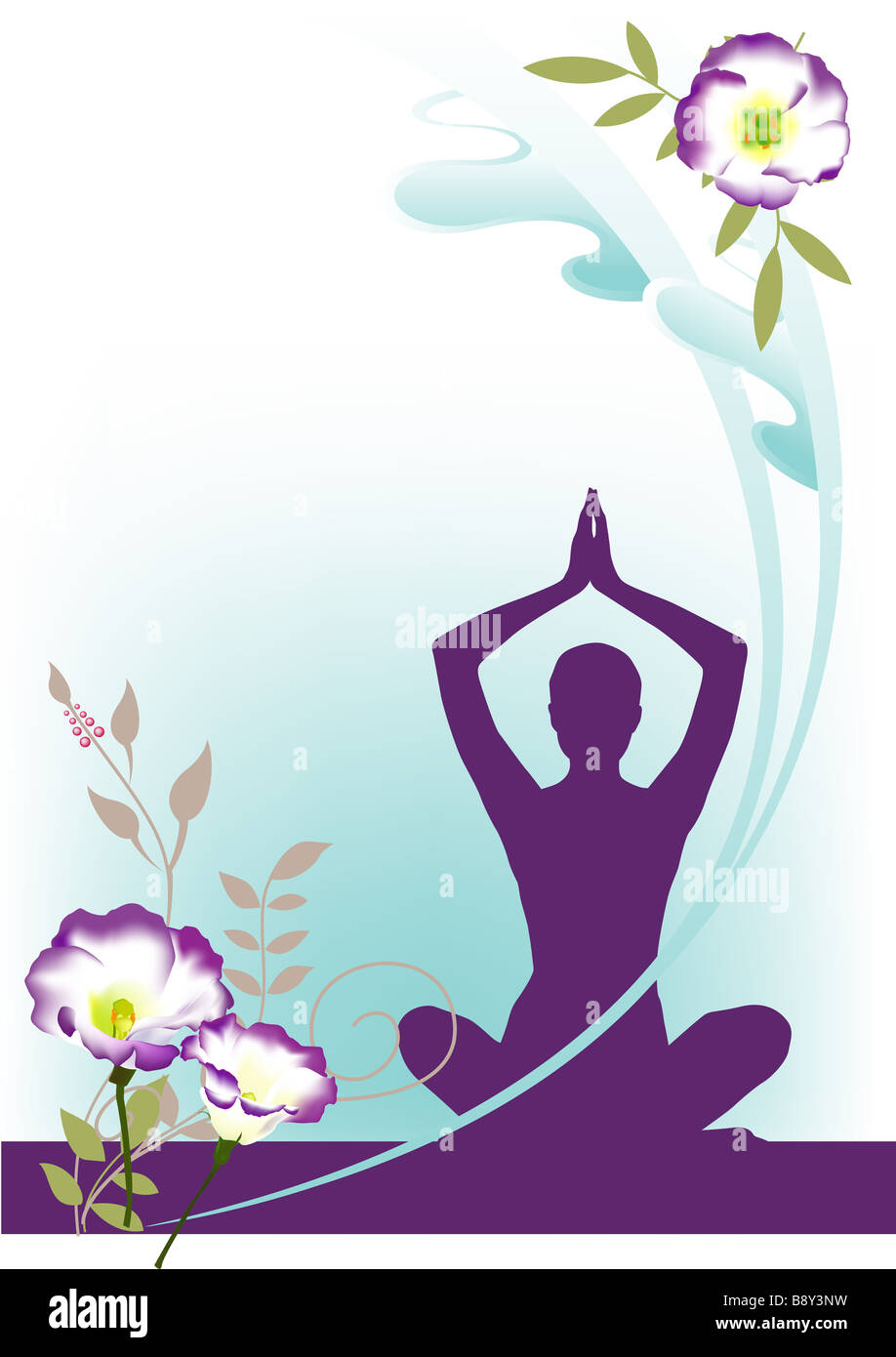 Yoga Woman Silhouette Lotus Flower Stock Photos Yoga Woman
