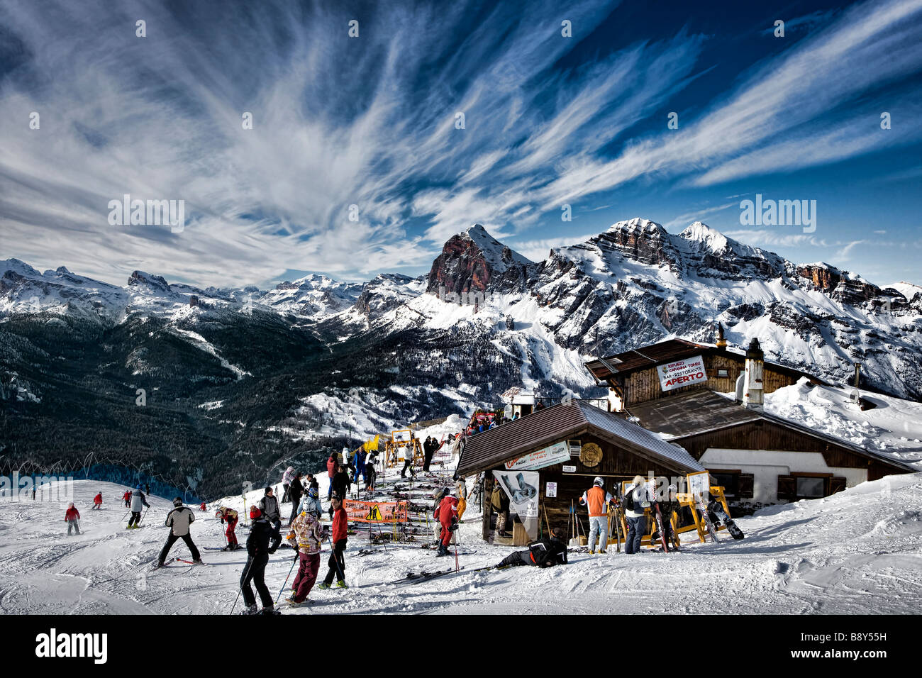 skiing down the Dolomites at Cortina D'Ampezzo Italian Alps Alpi Veneto Italy Dolomiti - Stock Image