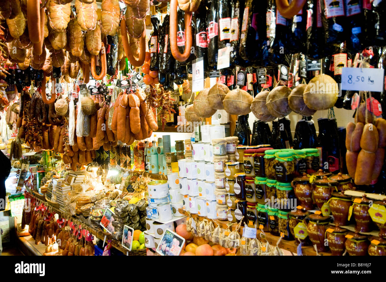 Europe Spain Balearic Islands Majorca Palma downtown Old City Colmado Santo Domingo little sausage and chese store - Stock Image