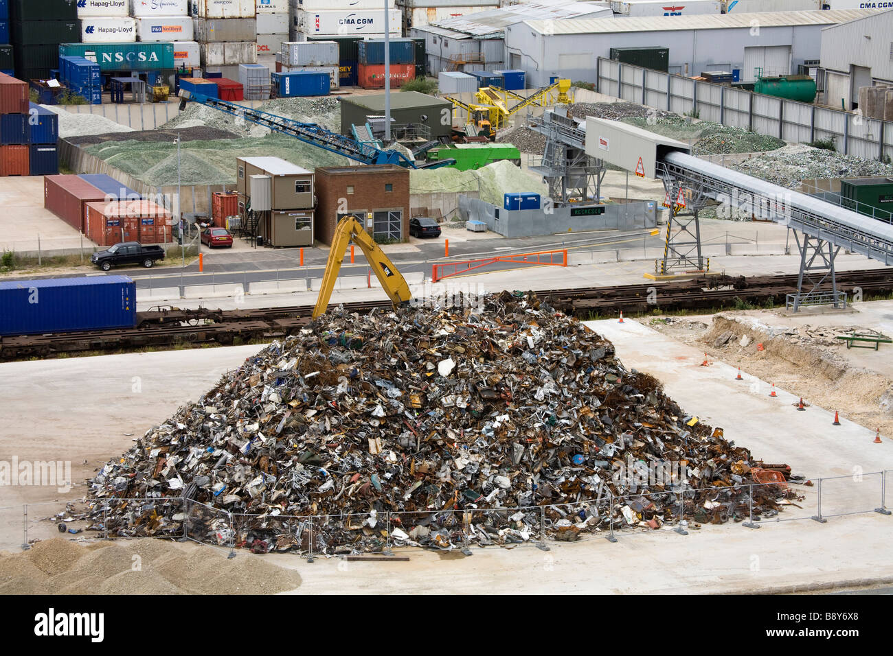 Heap of metal scrap at the commercial dock, Southampton, Hampshire, England - Stock Image