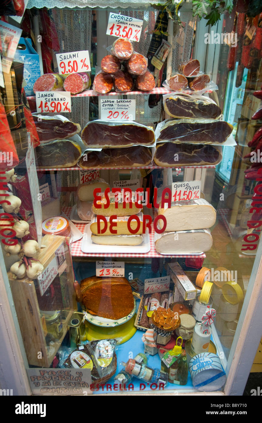 Europe Spain Balearic Islands Majorca Palma downtown Old City Colmado Santo Domingo little saussage and chese store - Stock Image