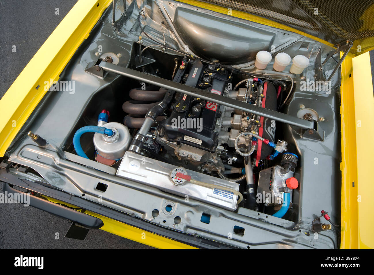 Ford Escort racing car mark two engine - Stock Image