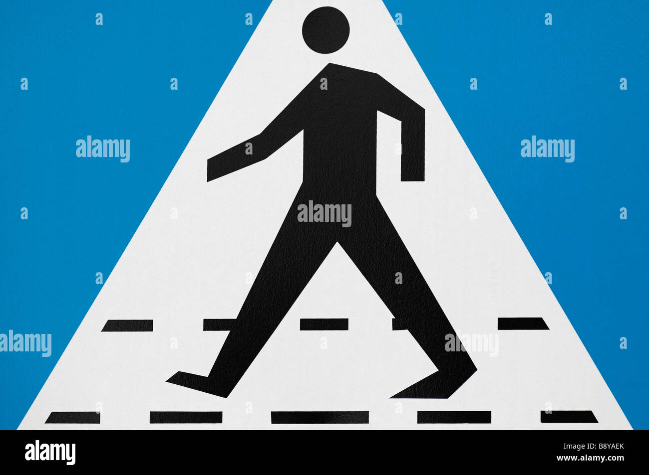 Pedestrian Crossing Sign Close Up - Stock Image