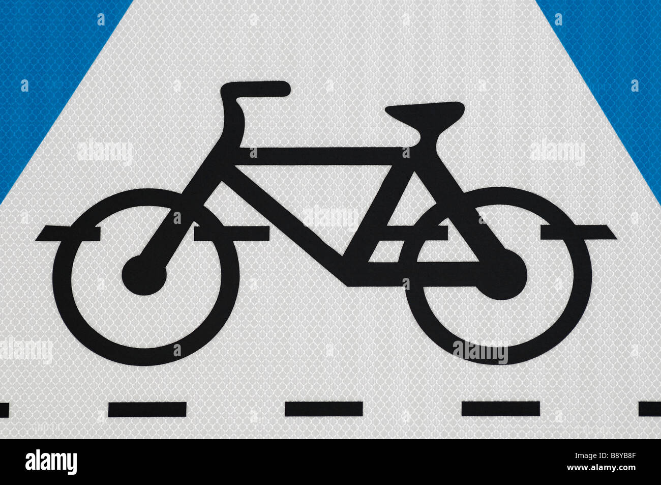 Cycle Lane Symbol on a Sign Board Close Up - Stock Image