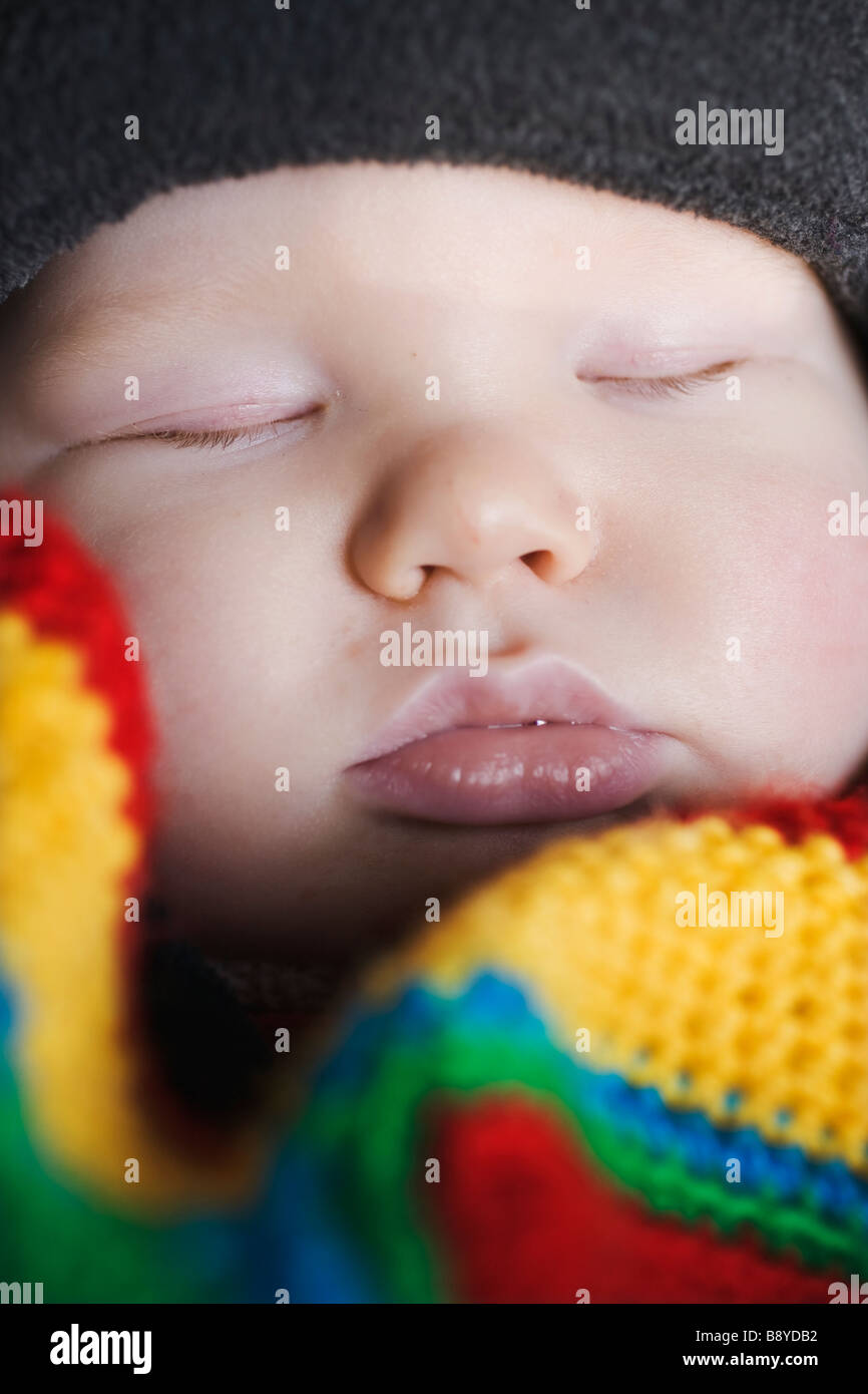 A sleeping baby Sweden. - Stock Image
