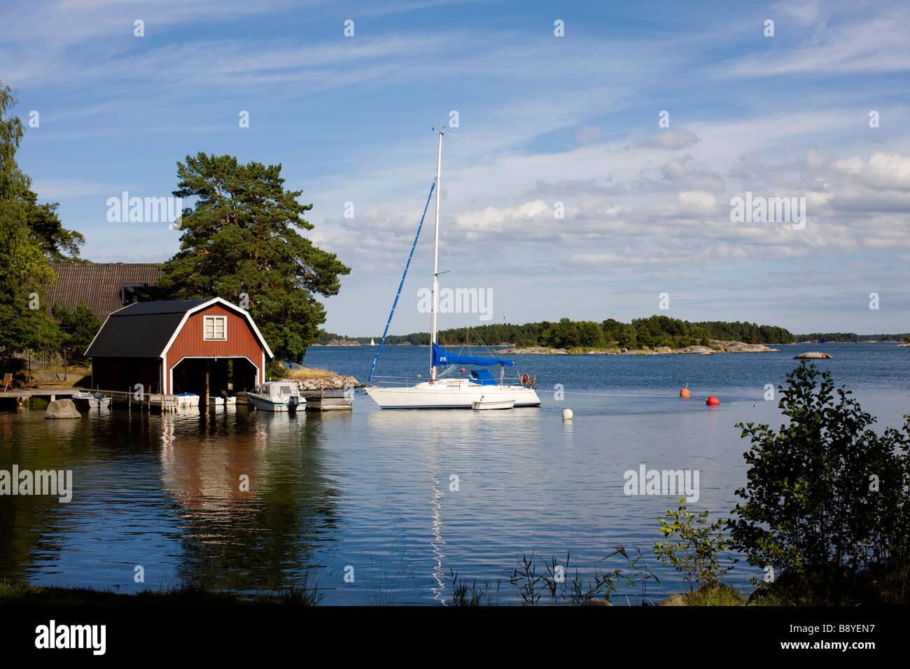 Sailing-boat in Stockholm archipelago Sweden. - Stock Image