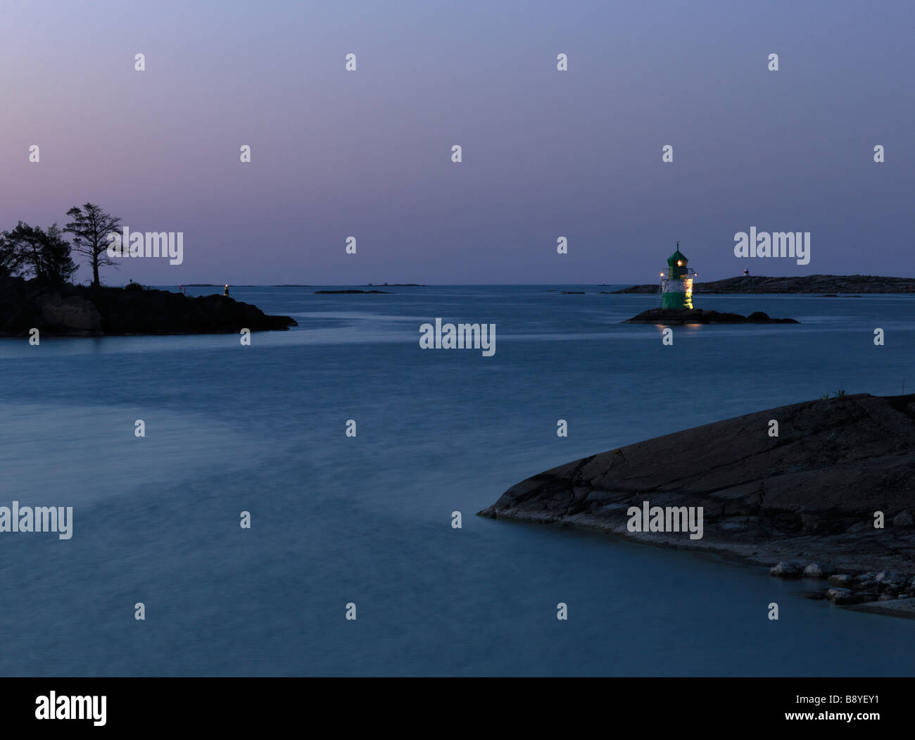 A lighthouse in the sea Sweden. - Stock Image