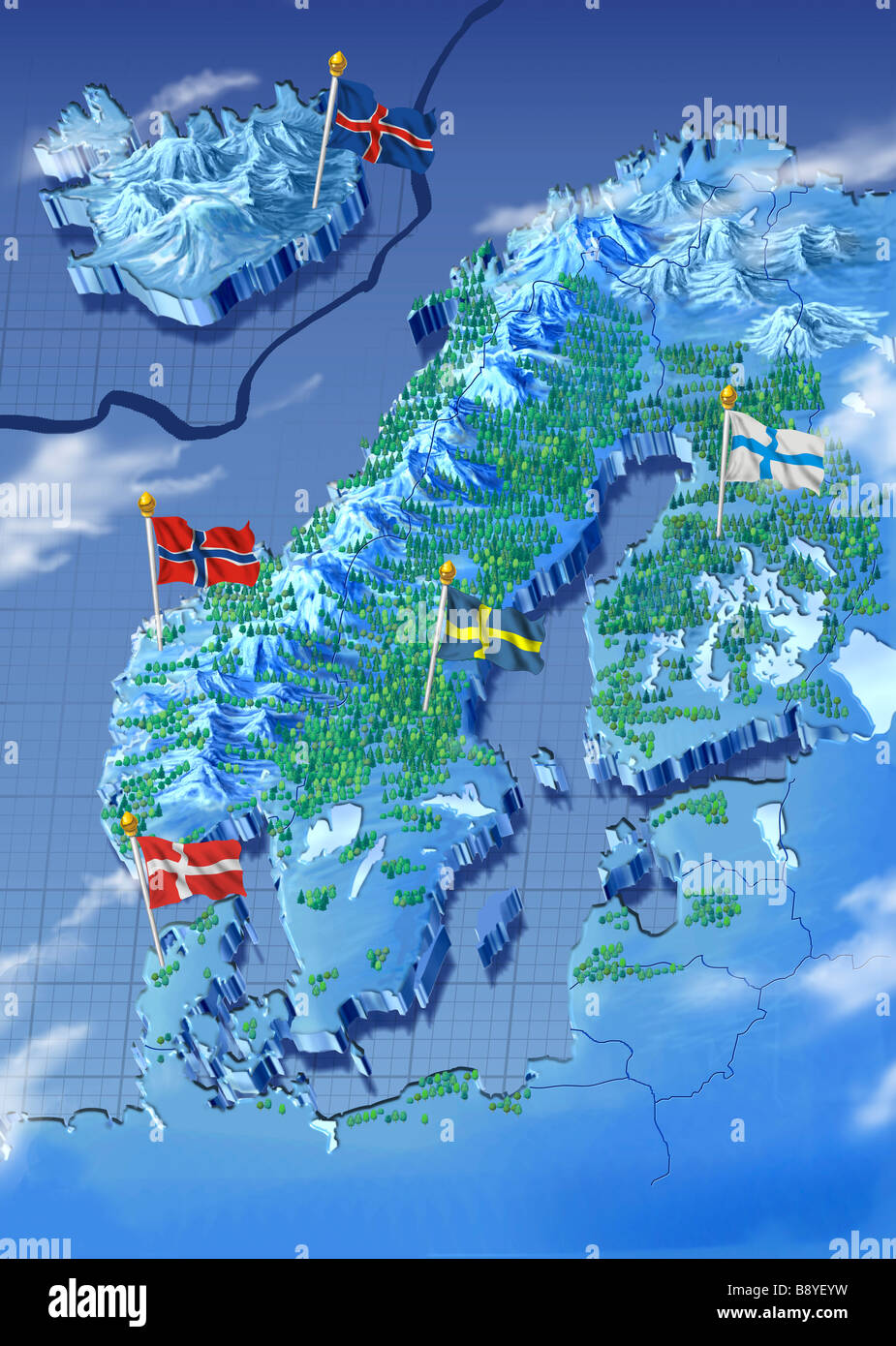 Scandinavia map stock photos scandinavia map stock images alamy painted map with the nordic countries sweden norway finland denmark and iceland gumiabroncs