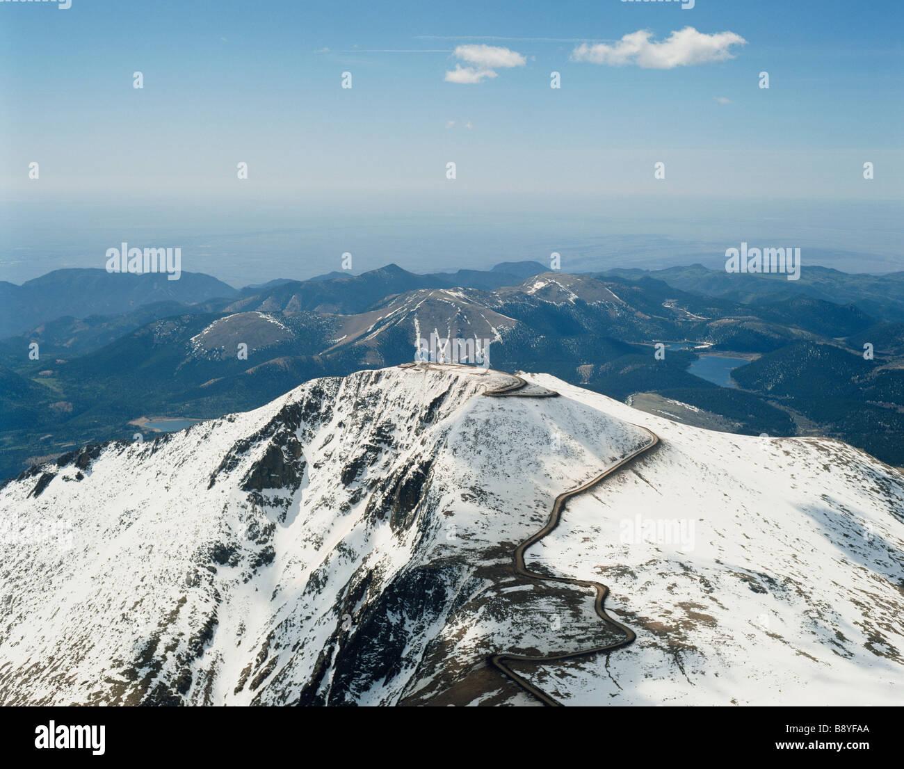 Pikes Peak In Colorado Springs: USA COLORADO PIKES PEAK HIGHWAY ROAD AERIAL SNOW Stock