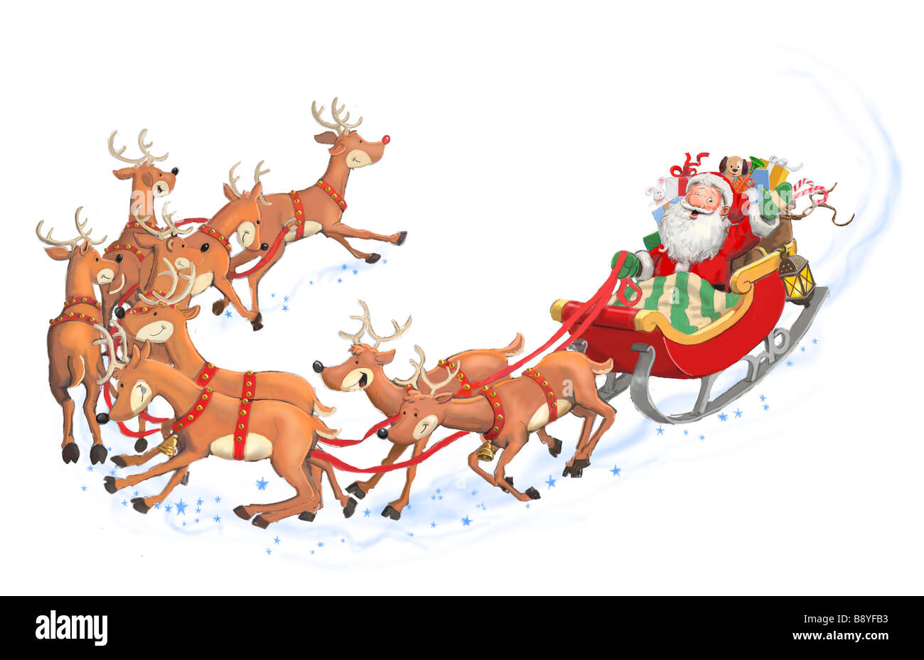 painted illustration with santa in his sleigh stock photo