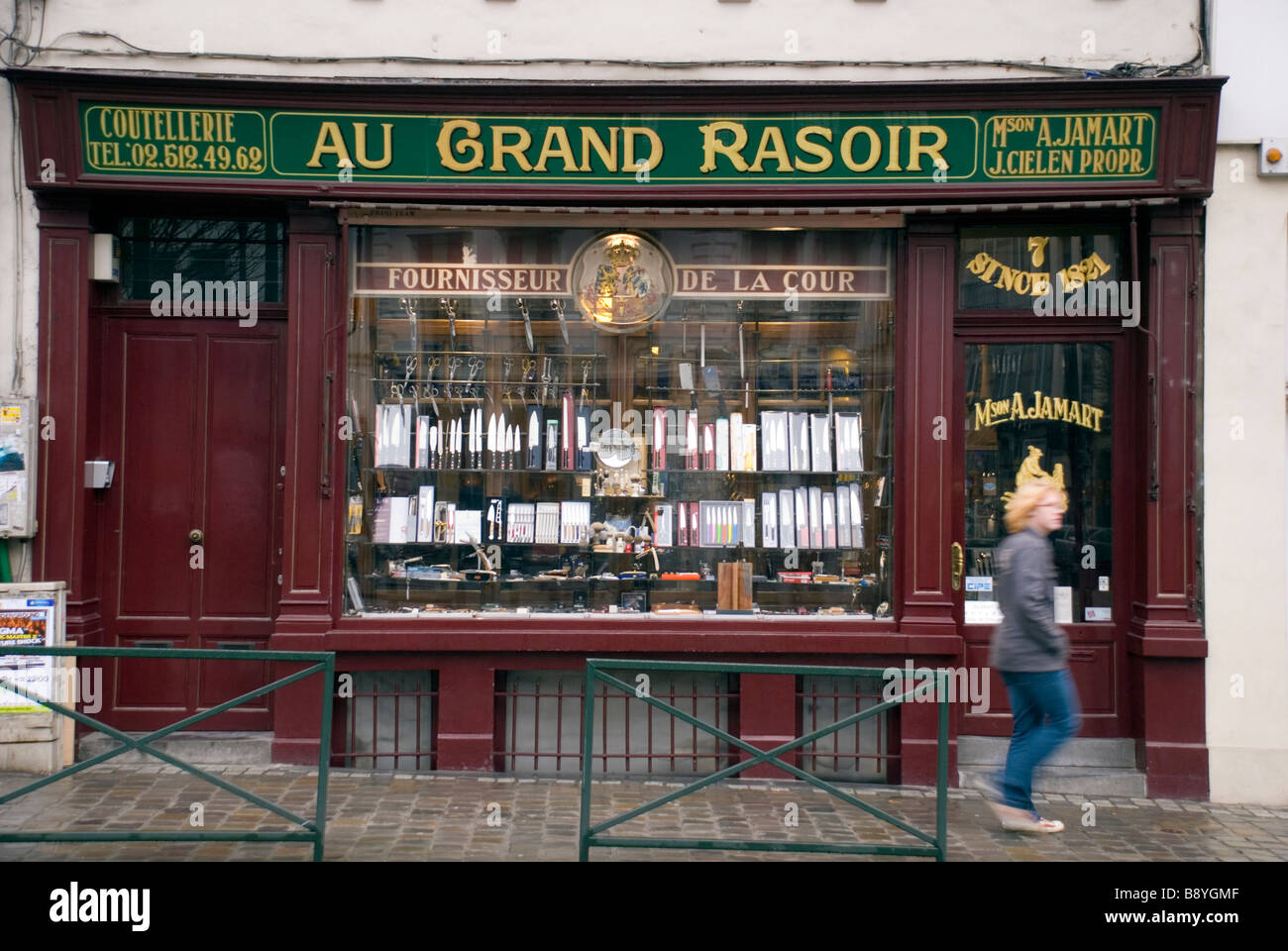 Brussels Belgium Shop selling razors knives and shaving equipment Place St Jean - Stock Image