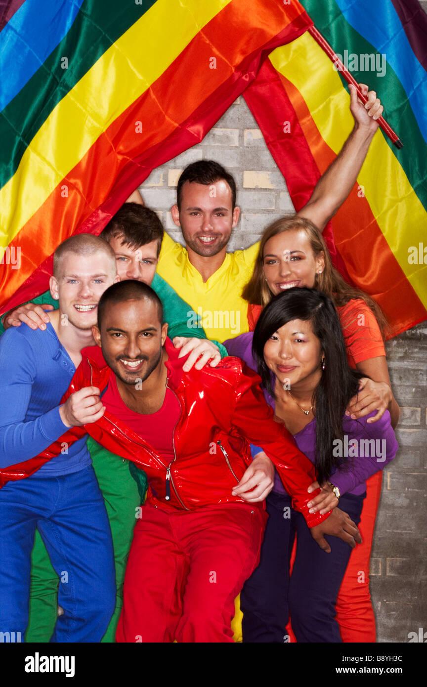 Group portrait during the Pride festival in Copenhagen Denmark. - Stock Image