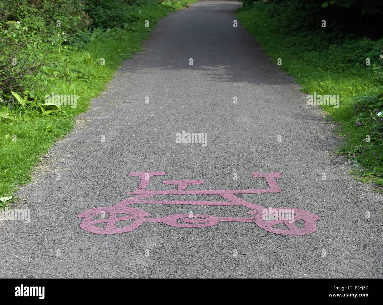 bicycle lane sign - Stock Image