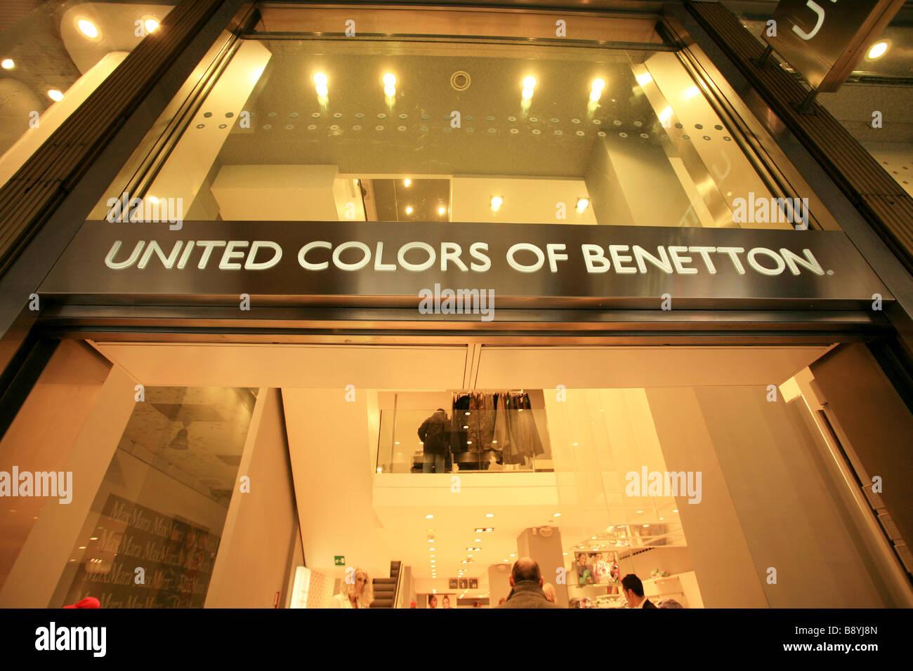 United Colors of Benetton shop, Vittorio Emanuele II street, Milan, Lombardy, Italy - Stock Image