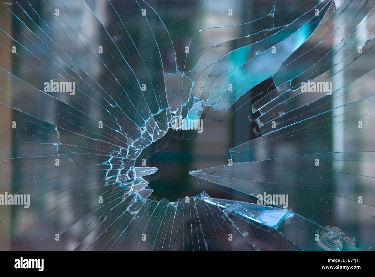 Broken window in Central Europe - Stock Image