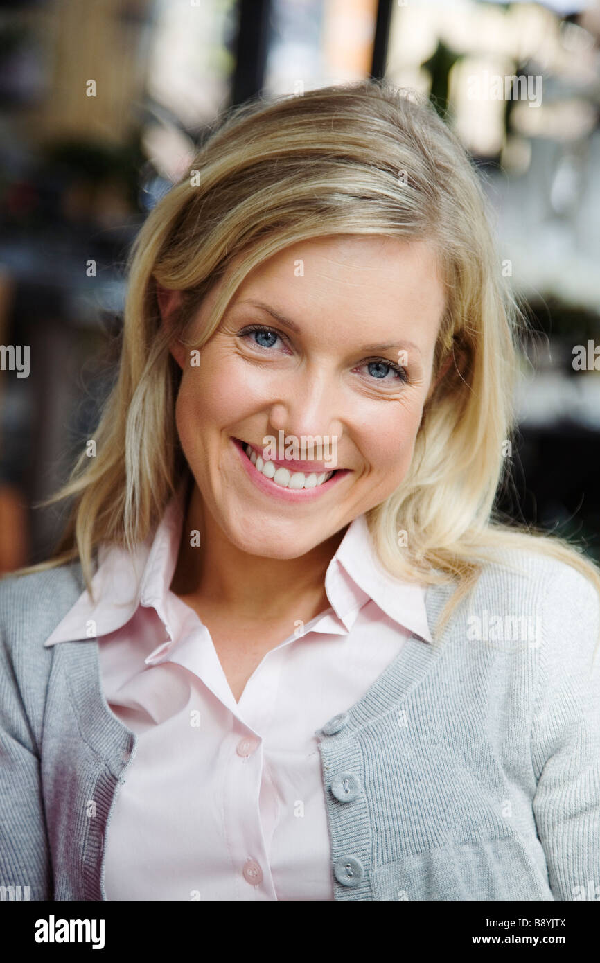 Portrait of a smiling woman Sweden. - Stock Image
