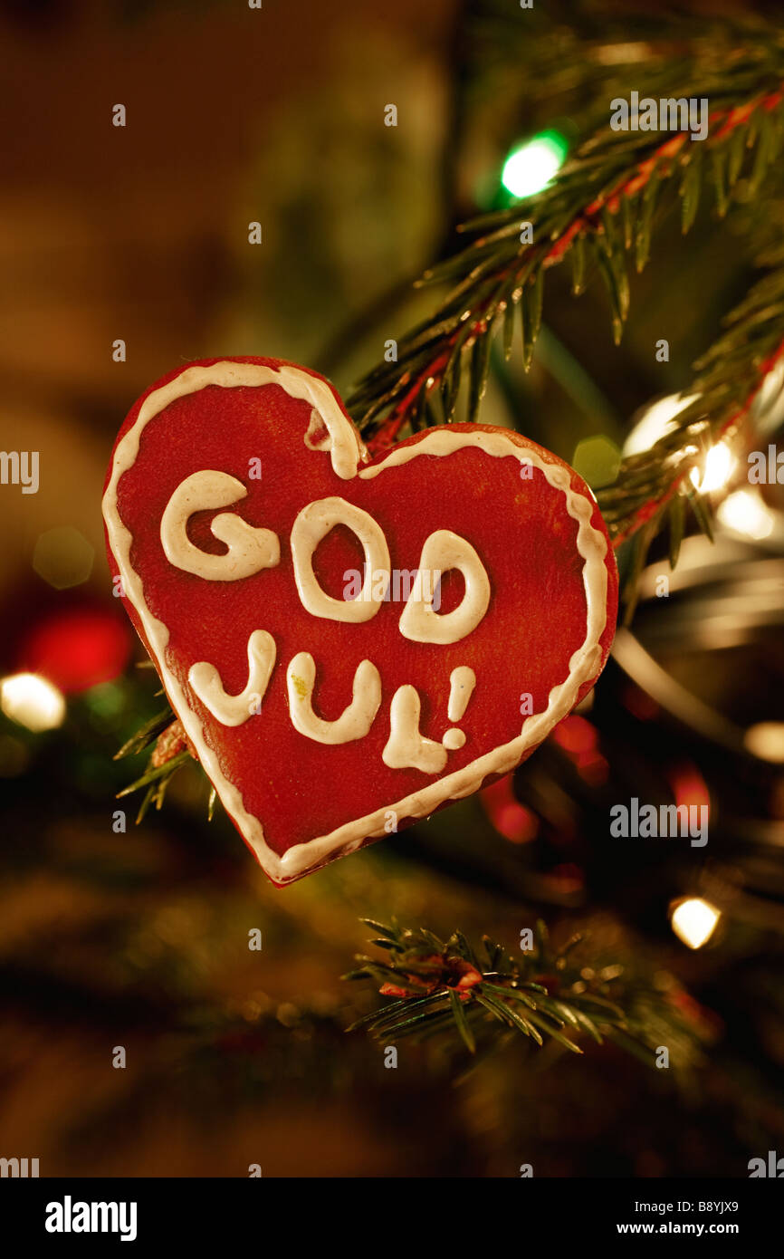 A heart in a Christmas tree Sweden. - Stock Image