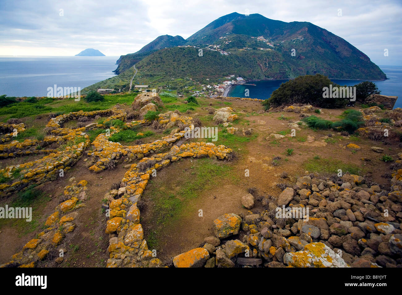 Prehistoric village, Filicudi island, Sicily, Italy Stock Photo