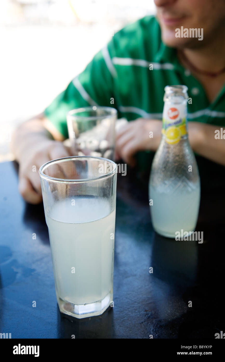 Scandinavian man and lemonade Greece. - Stock Image