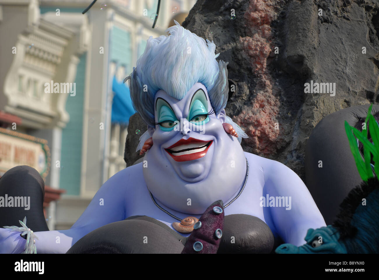 Ursula from the Little Mermaid film on parade at Disneyland, Paris - Stock Image