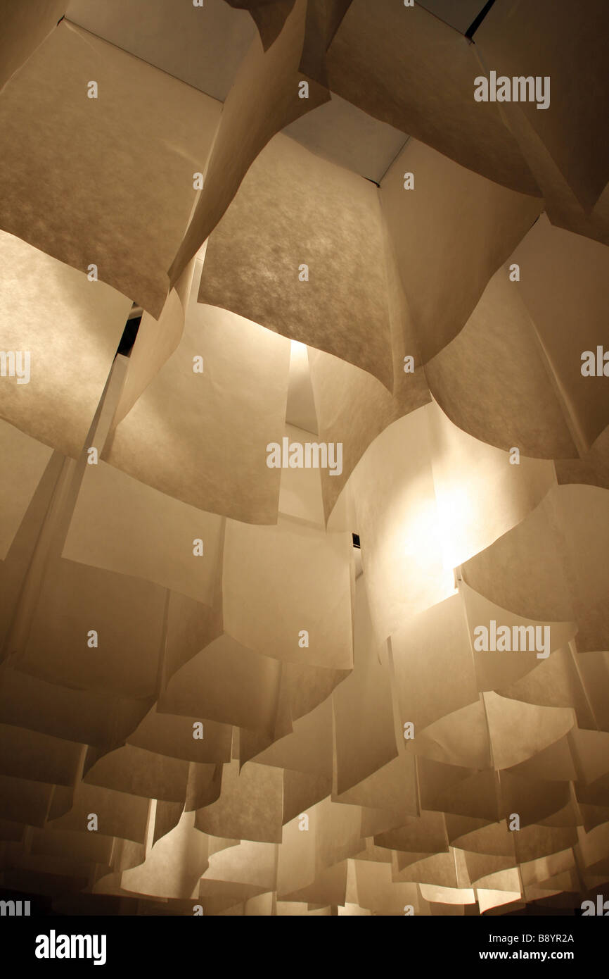 Hanging grid sections paper lamp shades on ceiling lighting system hanging grid sections paper lamp shades on ceiling lighting system at home decoration trade fair aloadofball Image collections
