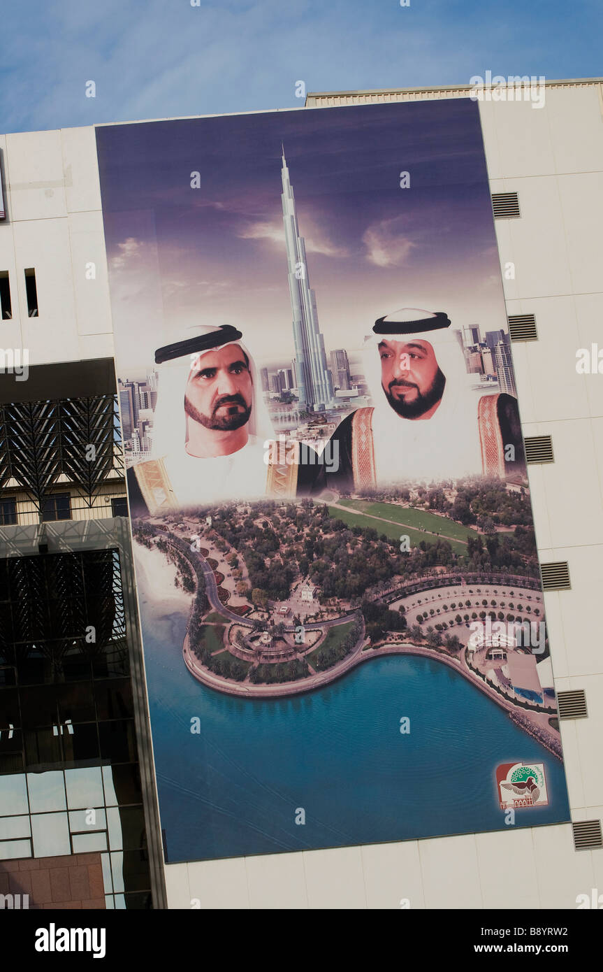 poster on building wall of dubai rulers, uae Stock Photo