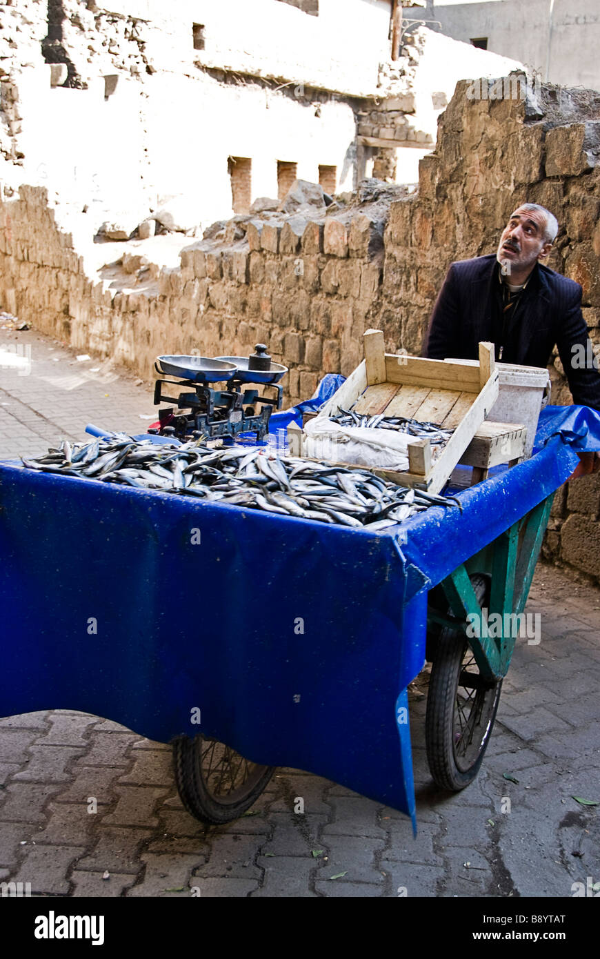 Man selling fish in the streets of Diyarbakir, Turkey, Asia - Stock Image