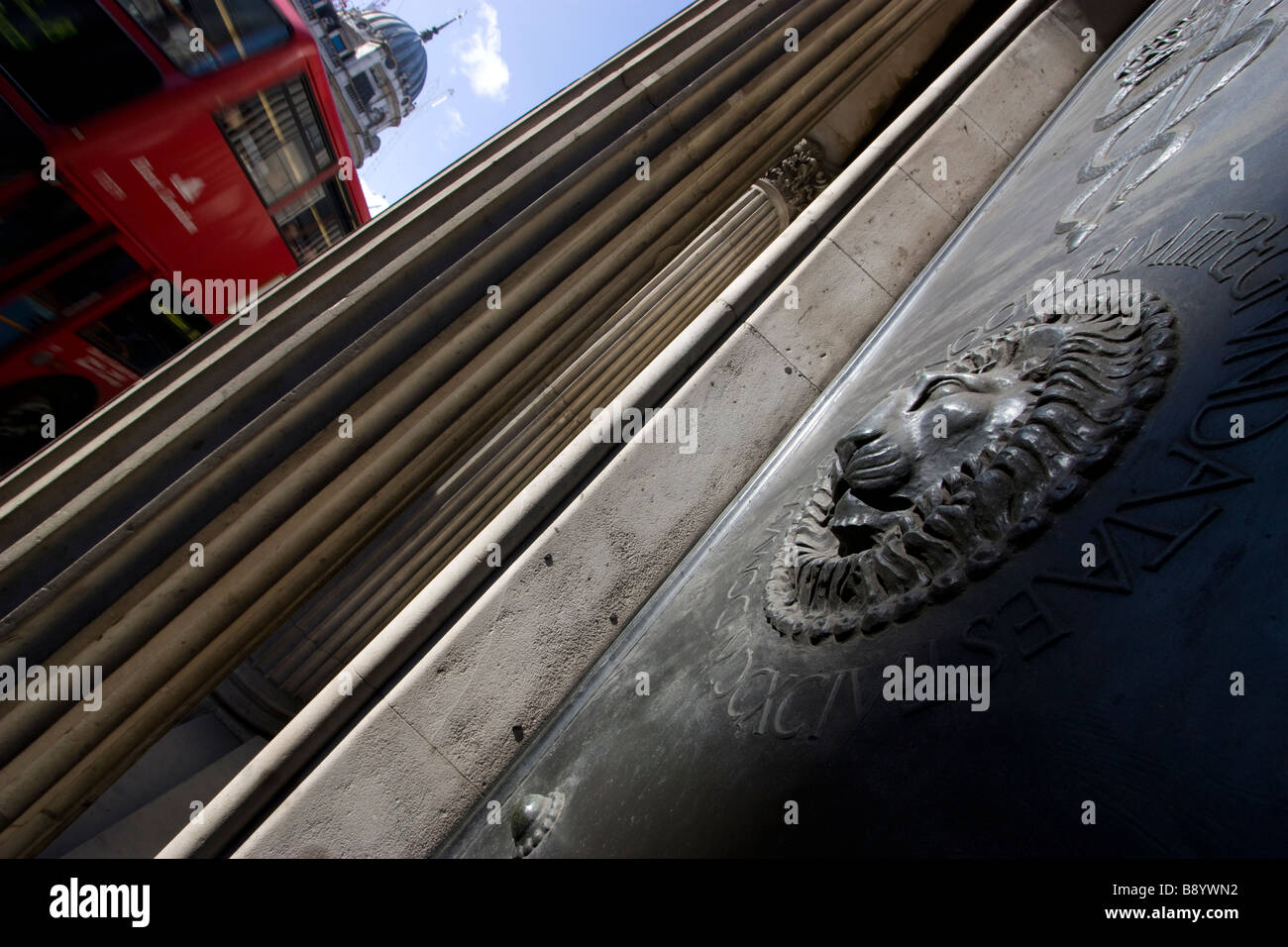 front door of the bank of england, with bus Threadneedle Street London - Stock Image