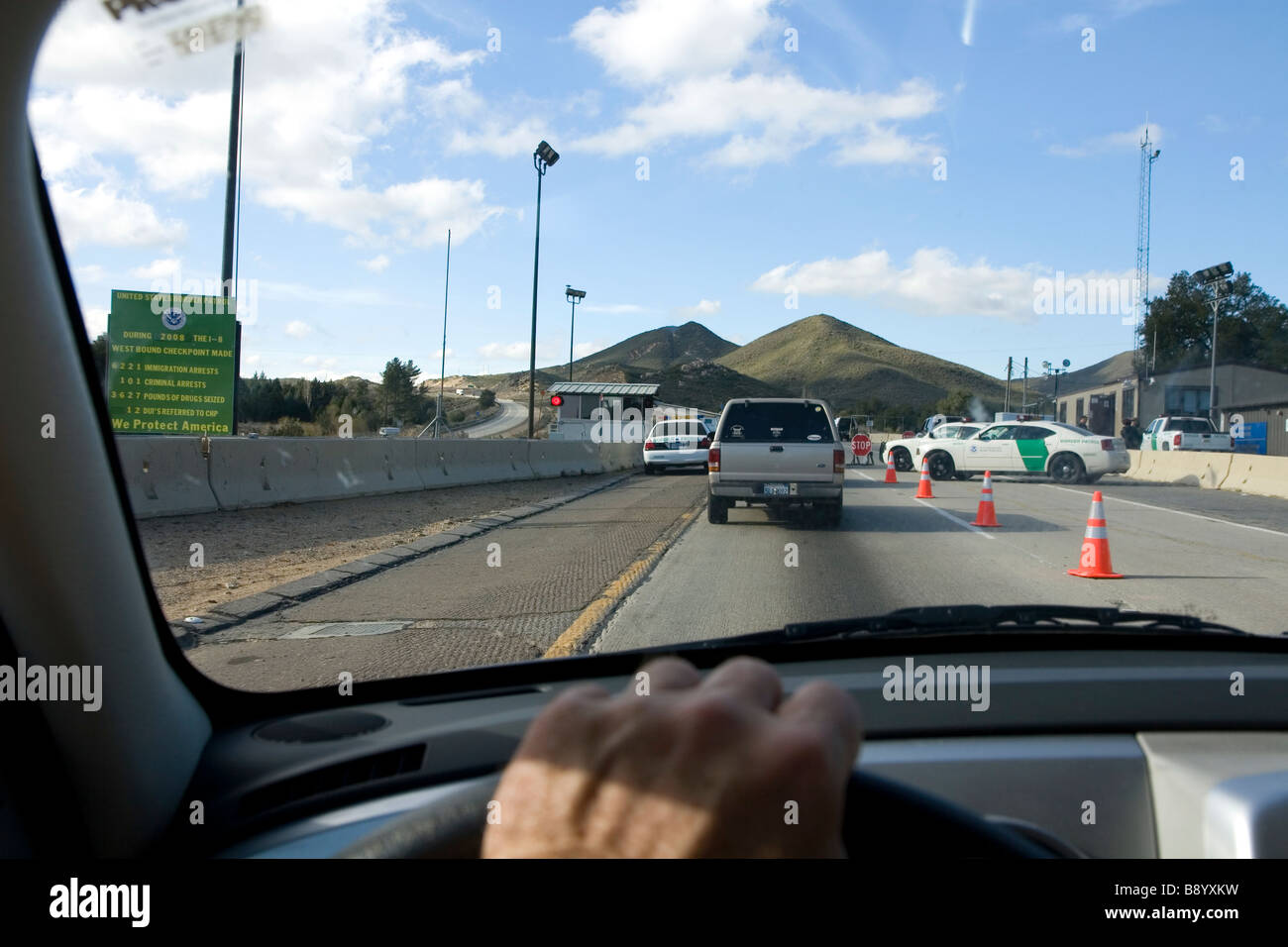 United States Border Patrol Checkpoint On Interstate 8 West Of El Centro California Stock Image
