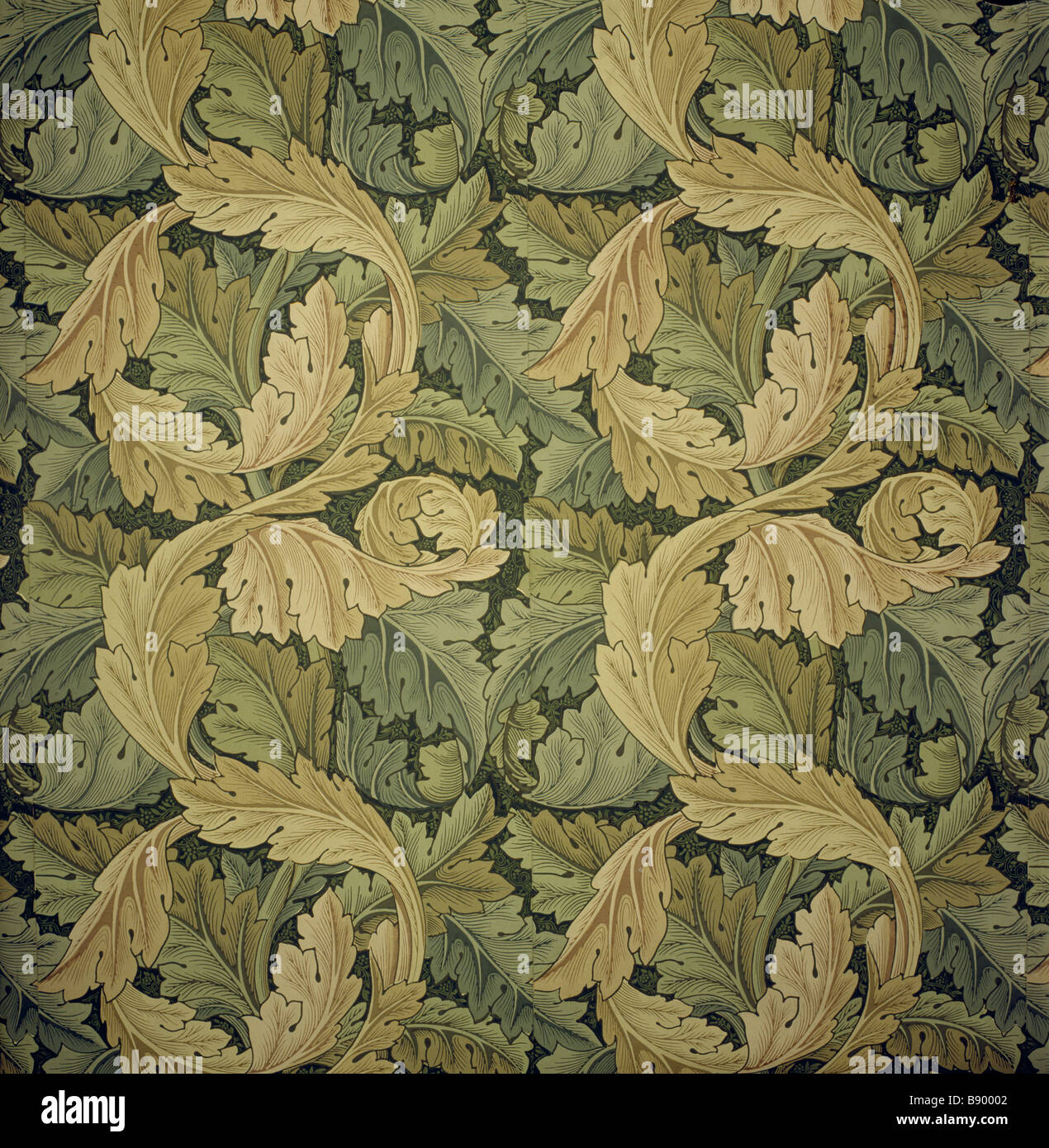 Detail of Acanthus Wallpaper designed by Morris c 1875 from the Acanthus bedroom - Stock Image