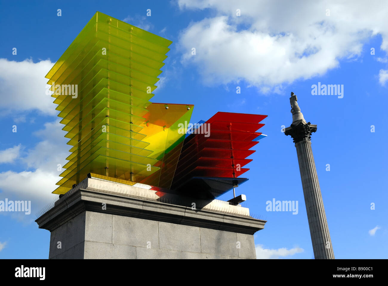 Nelsons Column and abstract sculpture on fourth plinth Trafalgar Square London UK - Stock Image