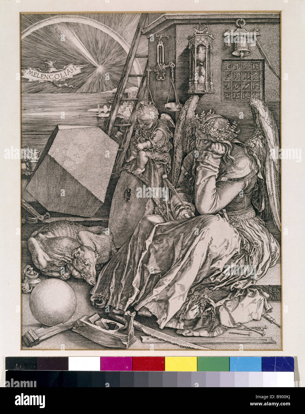 MELANCHOLIA woodcut after Durer in the Study at Woolsthorpe Manor - Stock Image