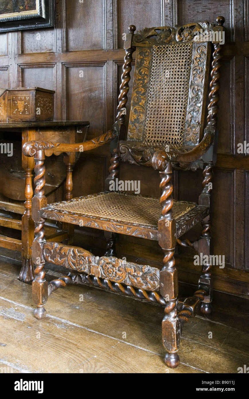 Wooden Jacobean chair in the Music Room at Westwood Manor near Bradford on  Avon Wiltshire - - Jacobean Chair Stock Photos & Jacobean Chair Stock Images - Alamy