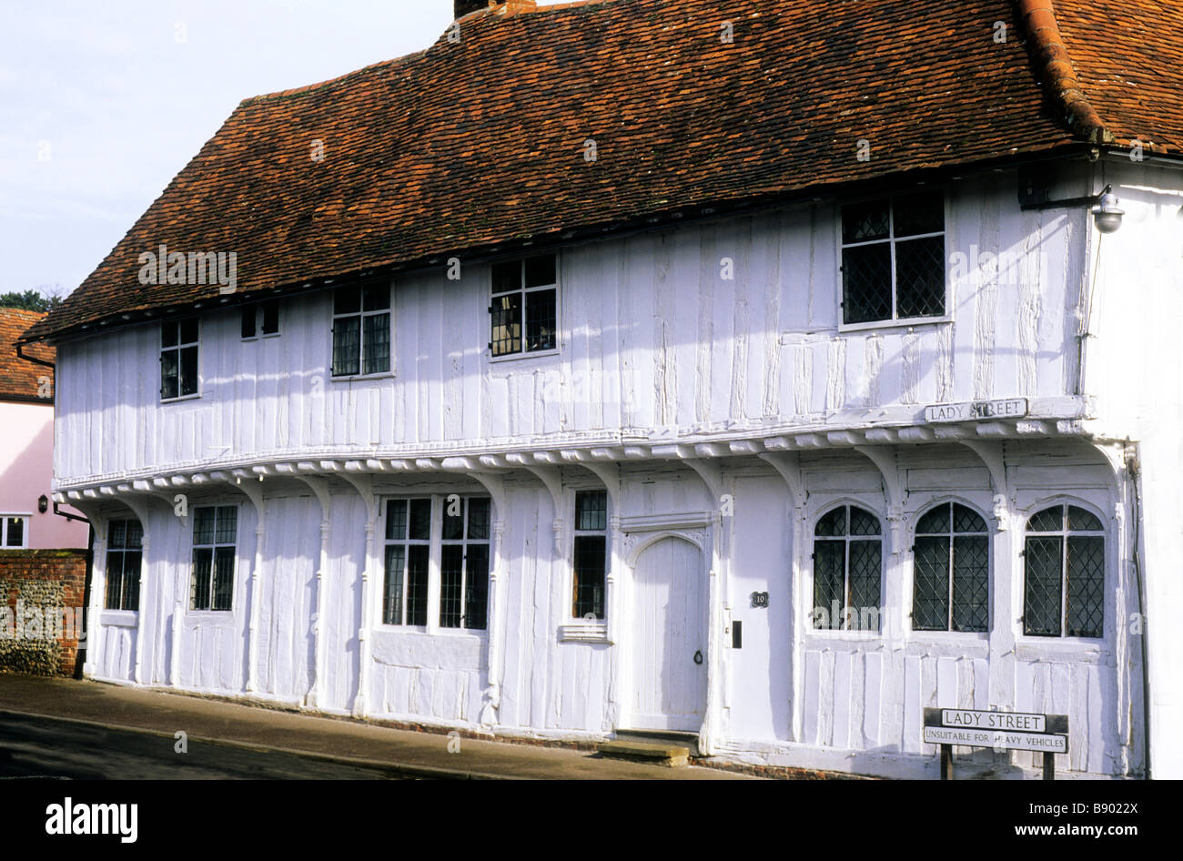 Lime washed timbered house Lady Street Lavenham charm quaint charming old English domestic architecture white Tudor - Stock Image