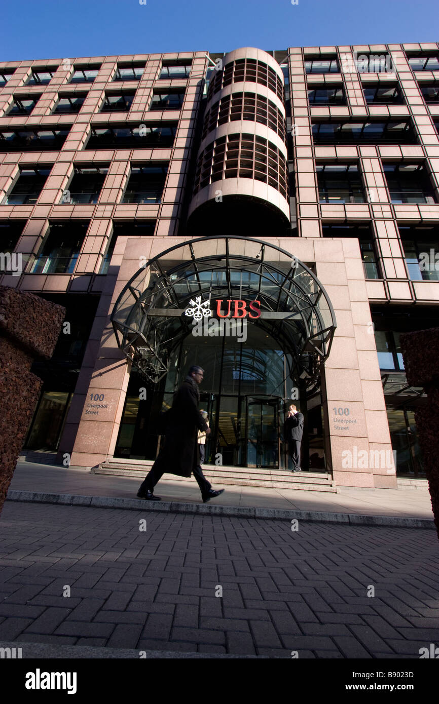 ubs bank headquarters broadgate liverpool street London - Stock Image