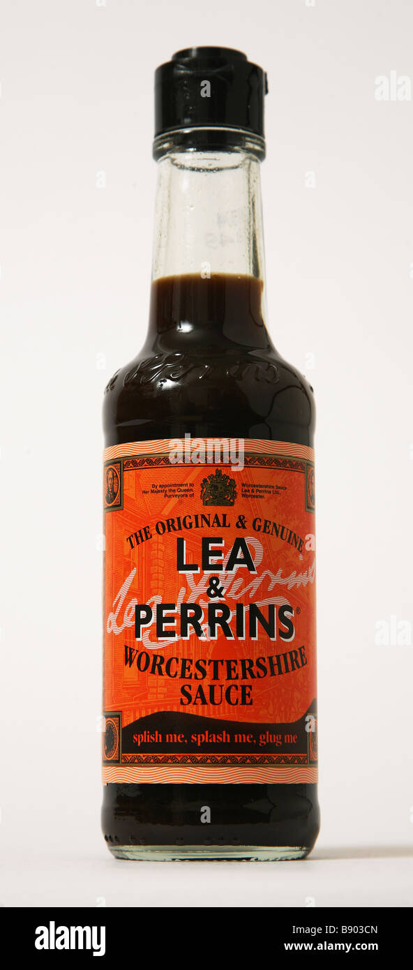 lea perrins sauce bottle - Stock Image