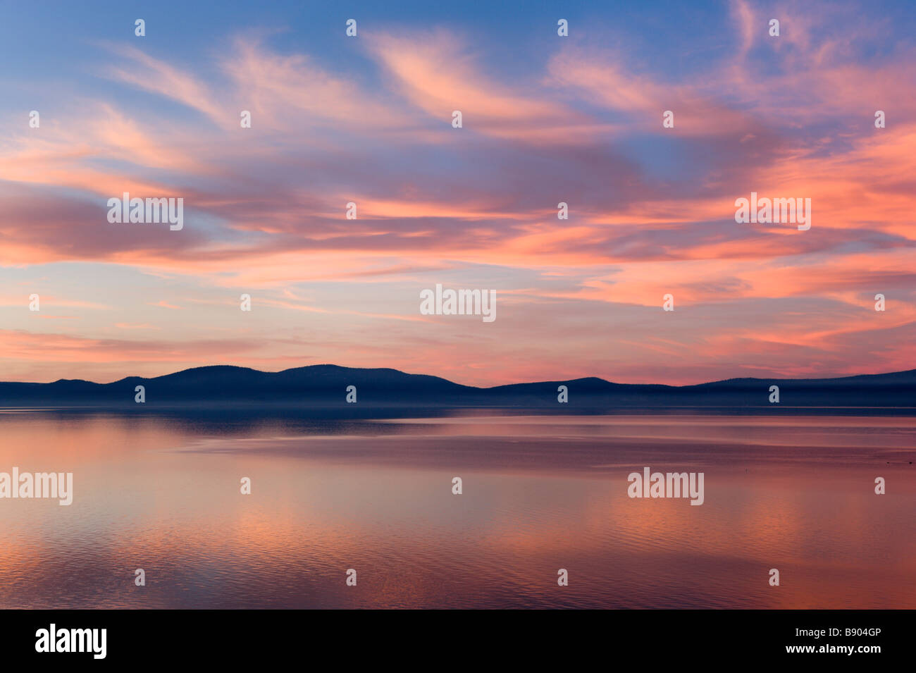 Sunset from Logan Shoals Vista Point off Highway 50, Zephyr Cove, Lake Tahoe, Nevada, USA - Stock Image