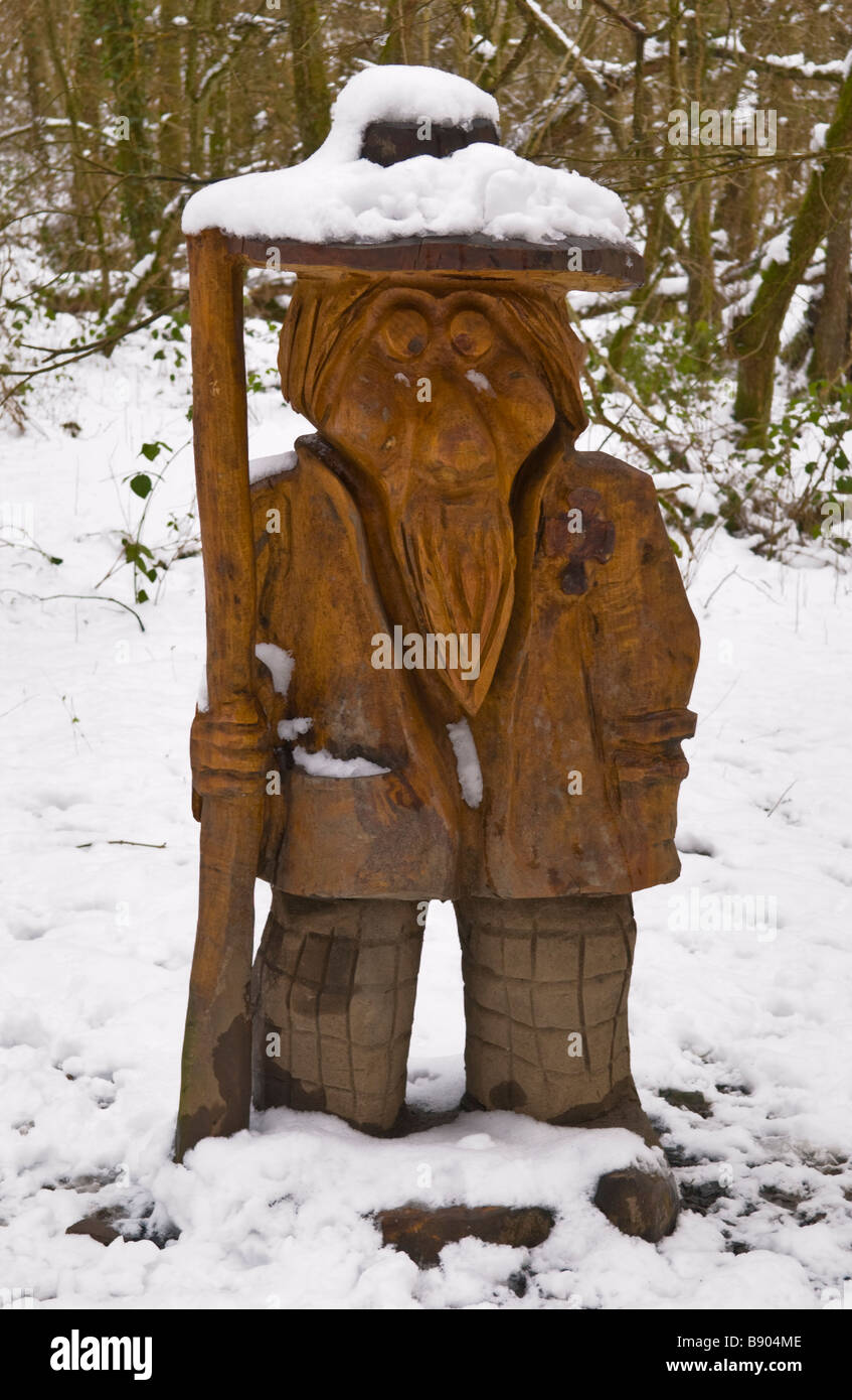 Llandoddie wood carving by artist Dave King seen throughout Llandrindod Wells Powys Mid Wales UK - Stock Image