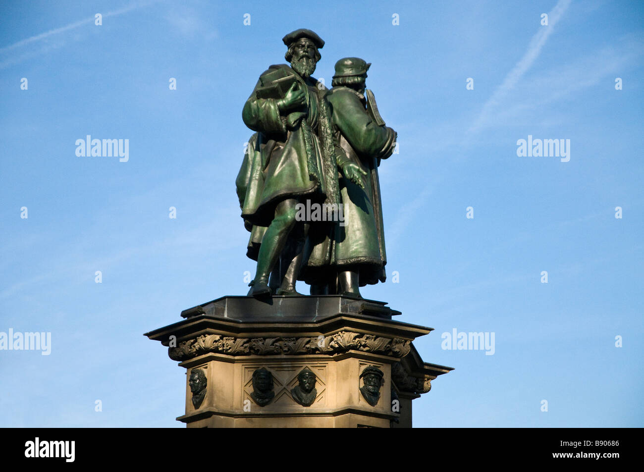 Europe Germany Frankfurt on the Main Downtown Financial district Johannes Gutenberg memorial - Stock Image