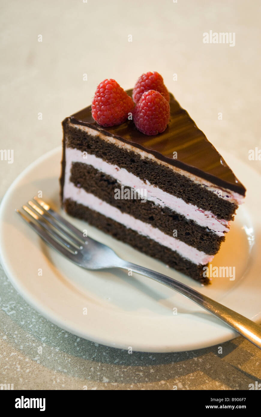 Slice of chocolate cake with raspberries at Love Cafe in the U Street neighborhood of Washington, District of Columbia, - Stock Image