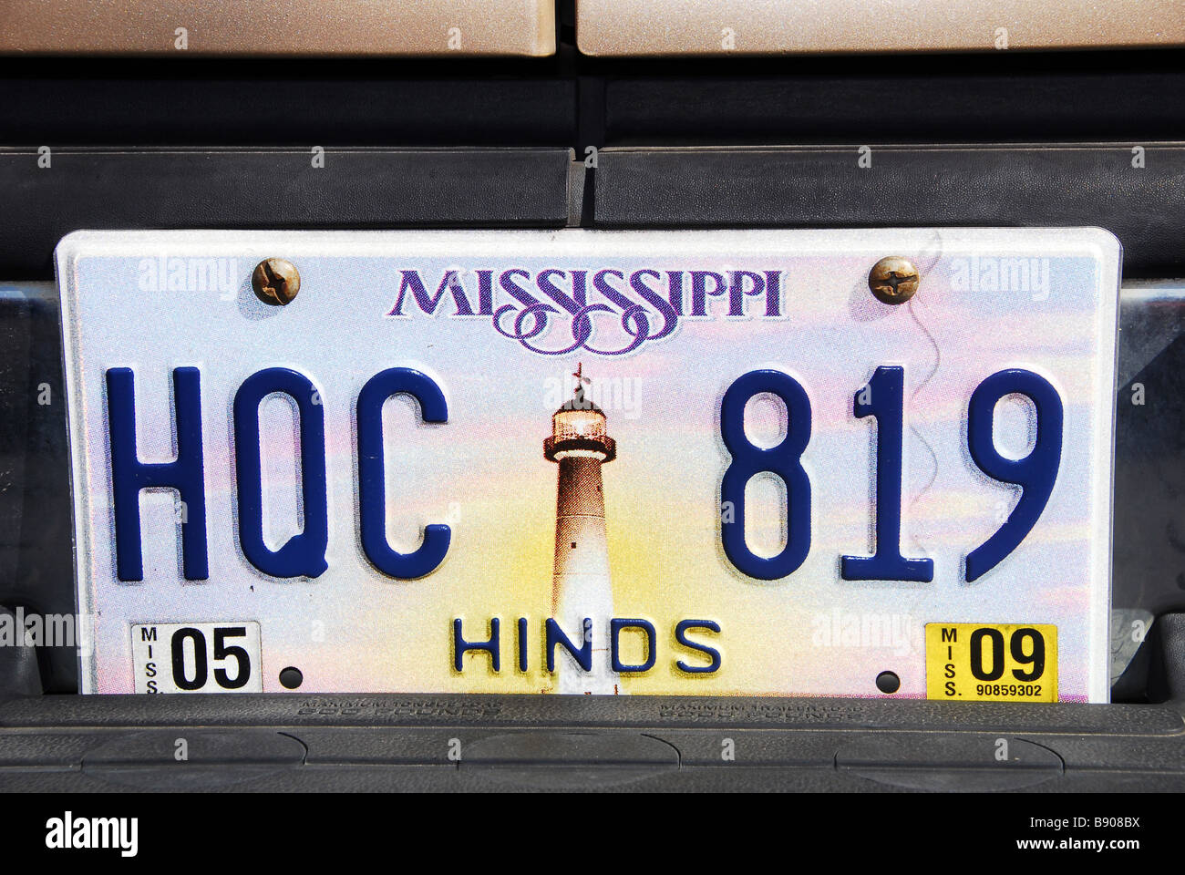 Car plate, Mississippi, United States of America, North America - Stock Image