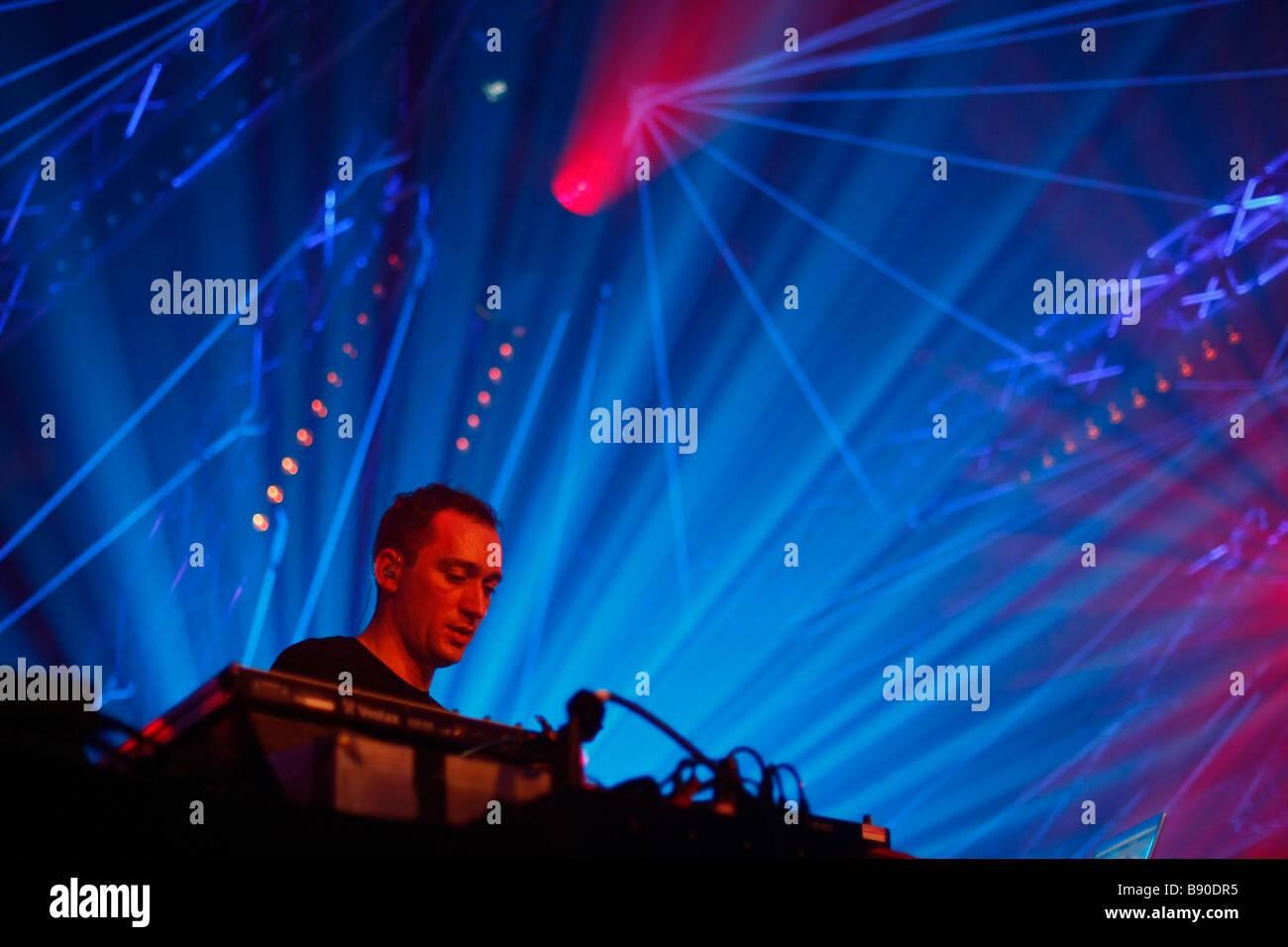 Live performance of DJ Paul van Dyk at Trance Energy 2009 in the Jaarbeurs in the city Utrecht - Stock Image
