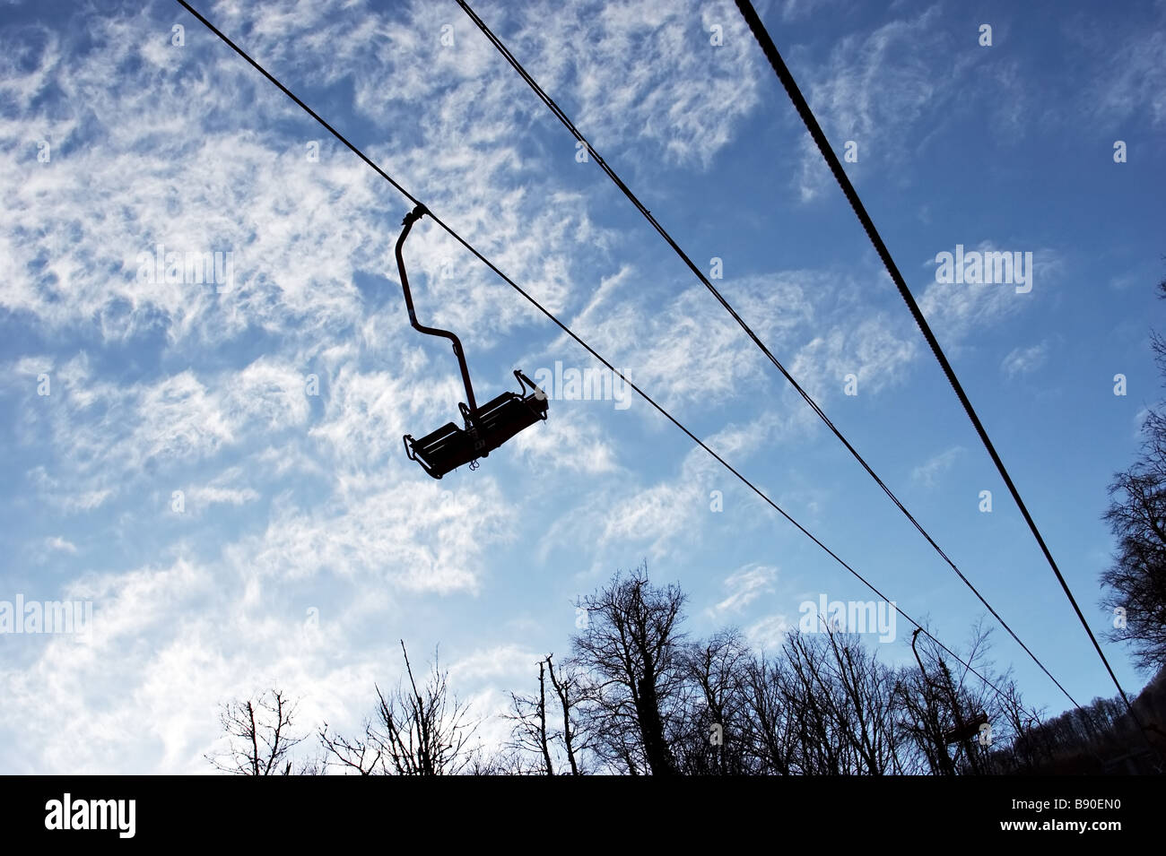 empty chair lift high speed empty chairlift on sky background stock photo 22753836 alamy